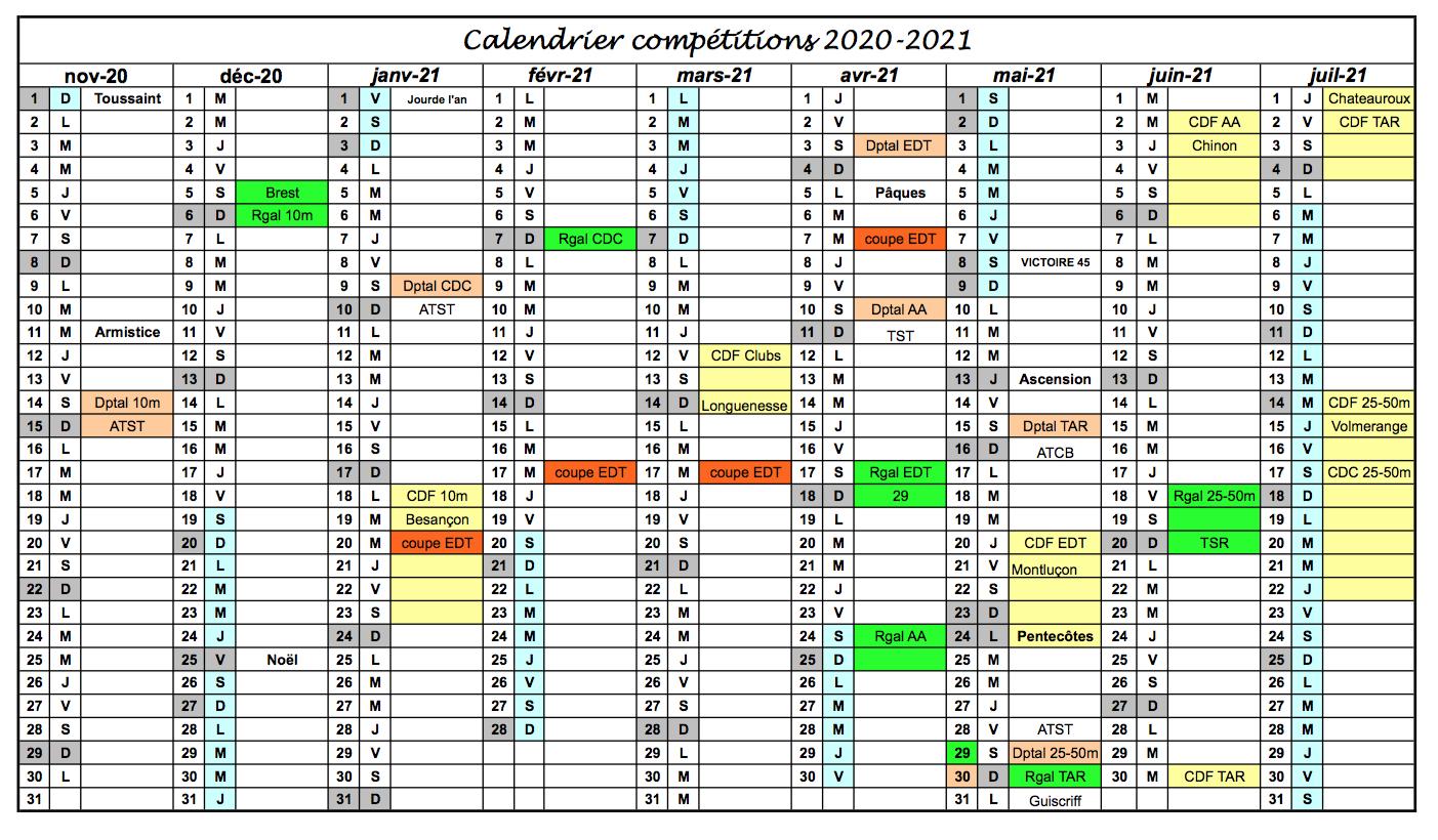 Calendrier Des Sportifs 2021 Calendrier Compétitions 2020 2021 – Tireurs Sportifs du Trieux